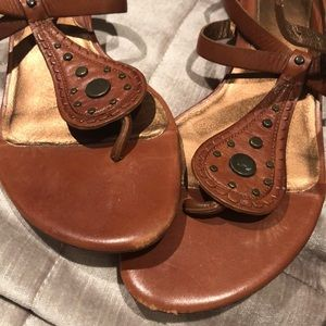 Cole Haan Brown Stud Embellished Thong Sandals